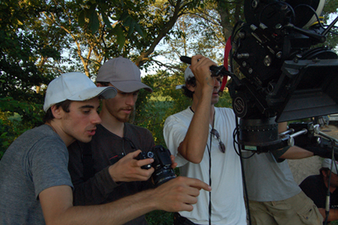 Aidan Fraser, George Nicholas and Gabriel Judet-Weinshel filming 'The Heart is a Hidden Camera'