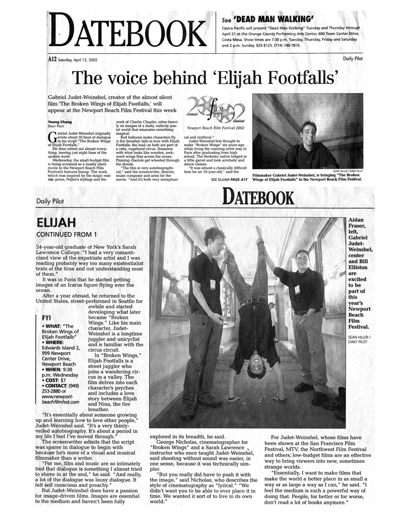 Press clipping from the Daily Pilot